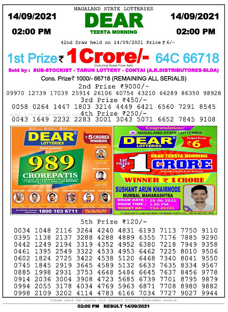 Nagaland State Lottery Result 14.9.2021 Today - 2pm