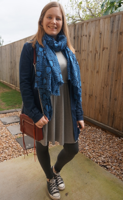 grey skater dress leggings converse navy mac and heart print scarf burgundy bag | awayfromtheblue