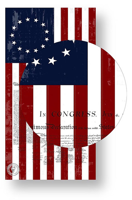 1776 Betsy Ross Flag Poster with the Declaration of Independence