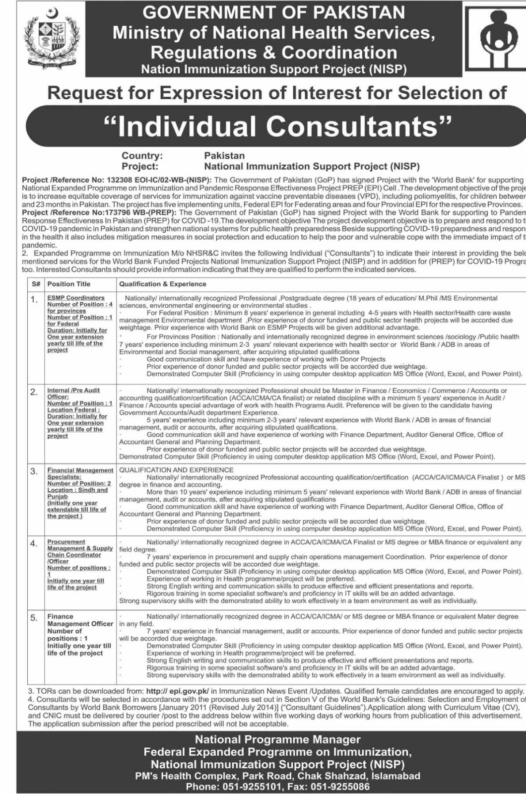 Jobs in Nation Immunization Support Project NISP April 2020
