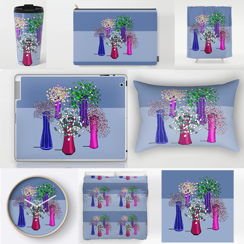 Flowers in vases in a stylized drawing from Susan Phillips Hicks of Melasdesign.