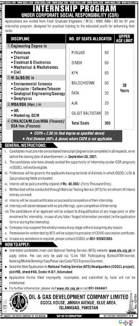 Today jobs-Oil & Gas Development Company Limited jobs in Pakistan 2021