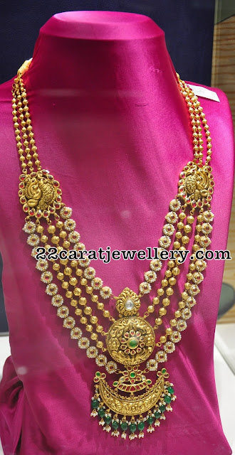 Gold Beads and Pearls Long Chain by PMJ