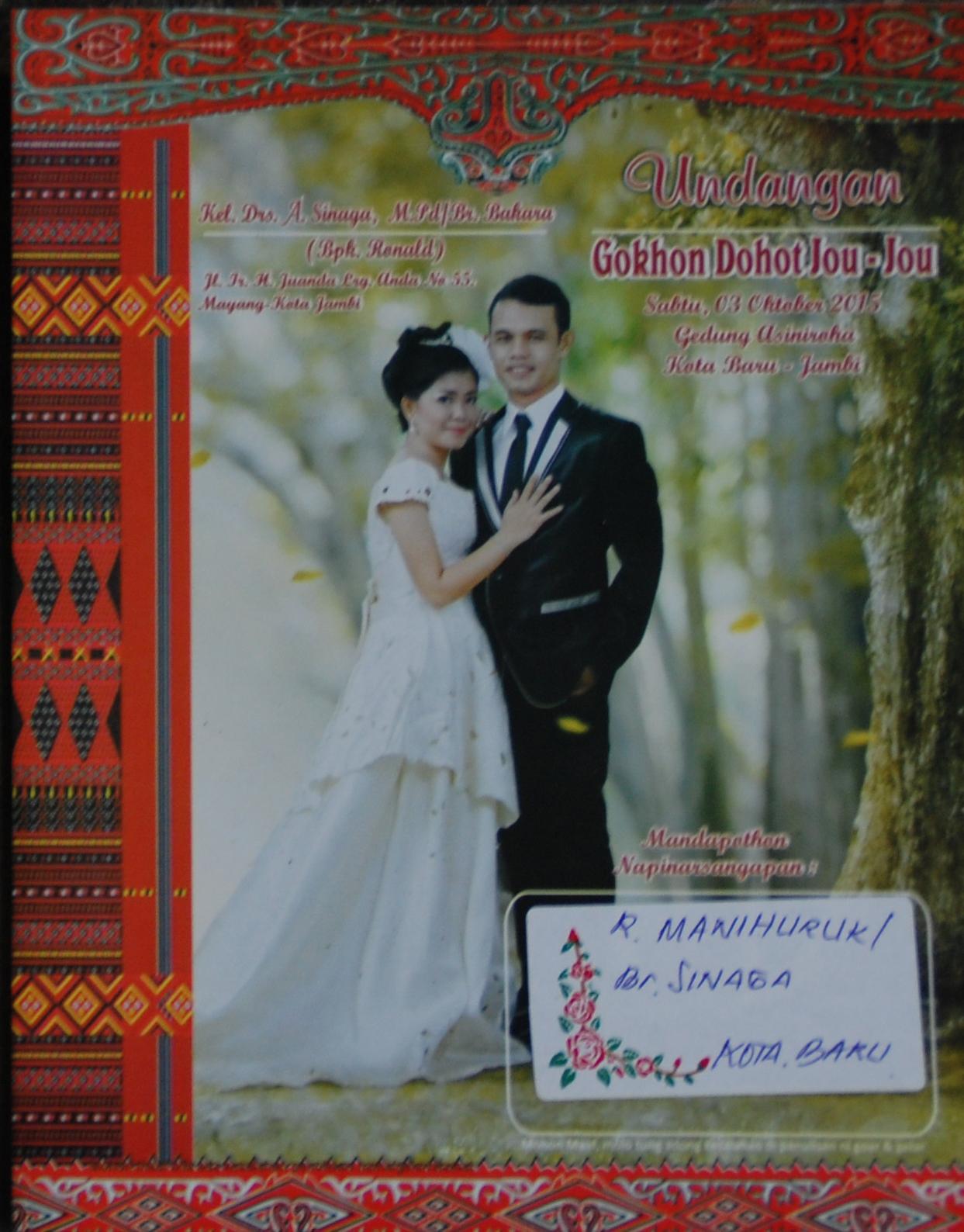 Undangan Pernikahan A Antonius Marojahan Sinaga Se Dengan Hariance