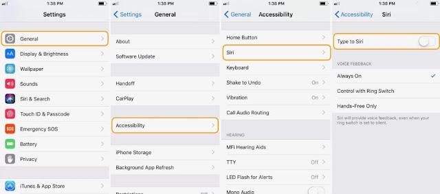 Cara Menyalakan/Mengaktifkan/Menghidupkan Type to Siri di iOS 11