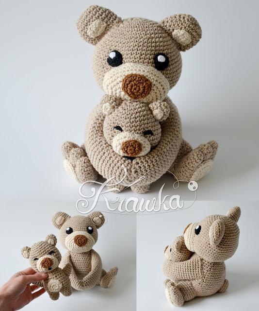 Krawka: Mommy Bear with baby classical Teddy bear crochet pattern by Krawka