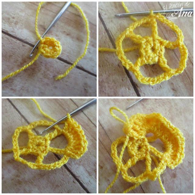 Flores tejidas con ganchillo