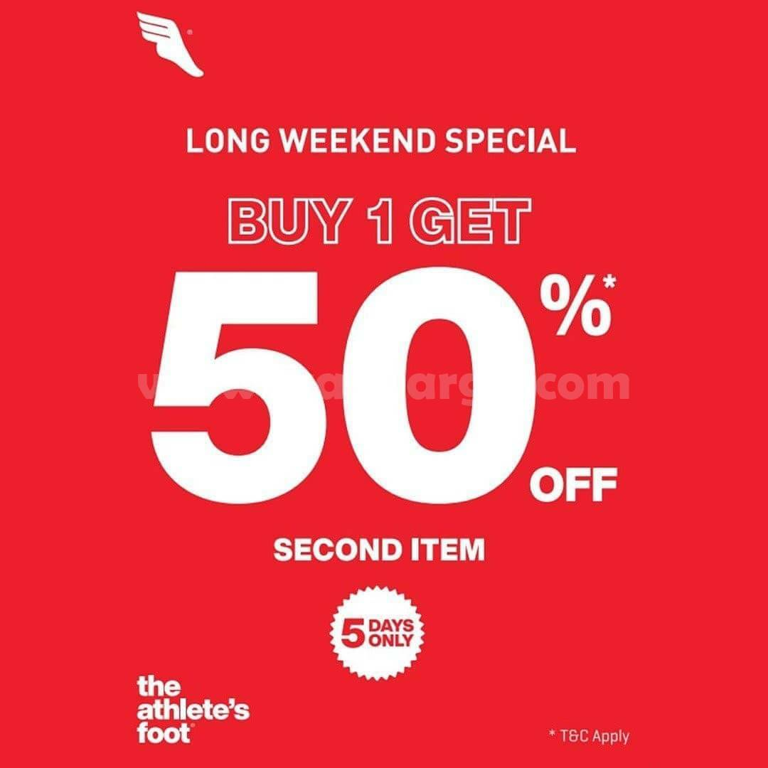 Athlete's Foot Promo LONG WEEKEND SPECIAL Buy One Get One Disc 50% Off