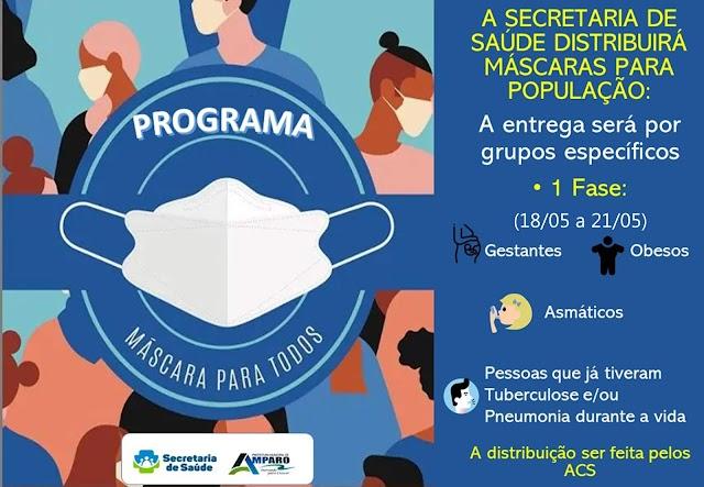 Prefeitura e Secretaria de Saúde de Amparo farão distribuição de máscaras Reutilizáveis; A distribuição acontecerá por Grupos Específicos, confira: