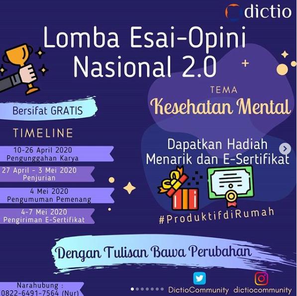 [GRATIS] Lomba Esai-Opini Nasional 2020 oleh Dictio Community