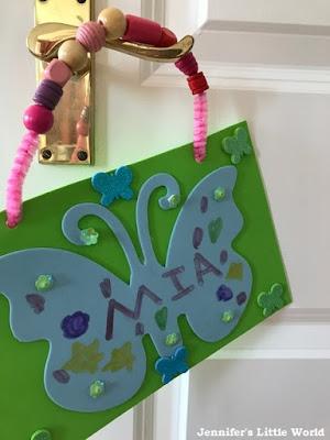 Butterfly name sign door hanger craft