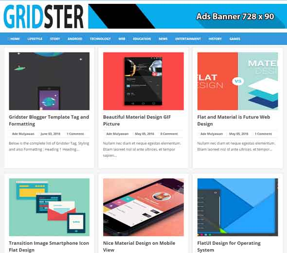 Gridster Adsense Friendly Blogger Template