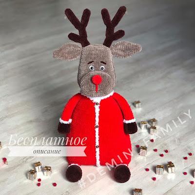 Вязаная подушка-игрушка олень