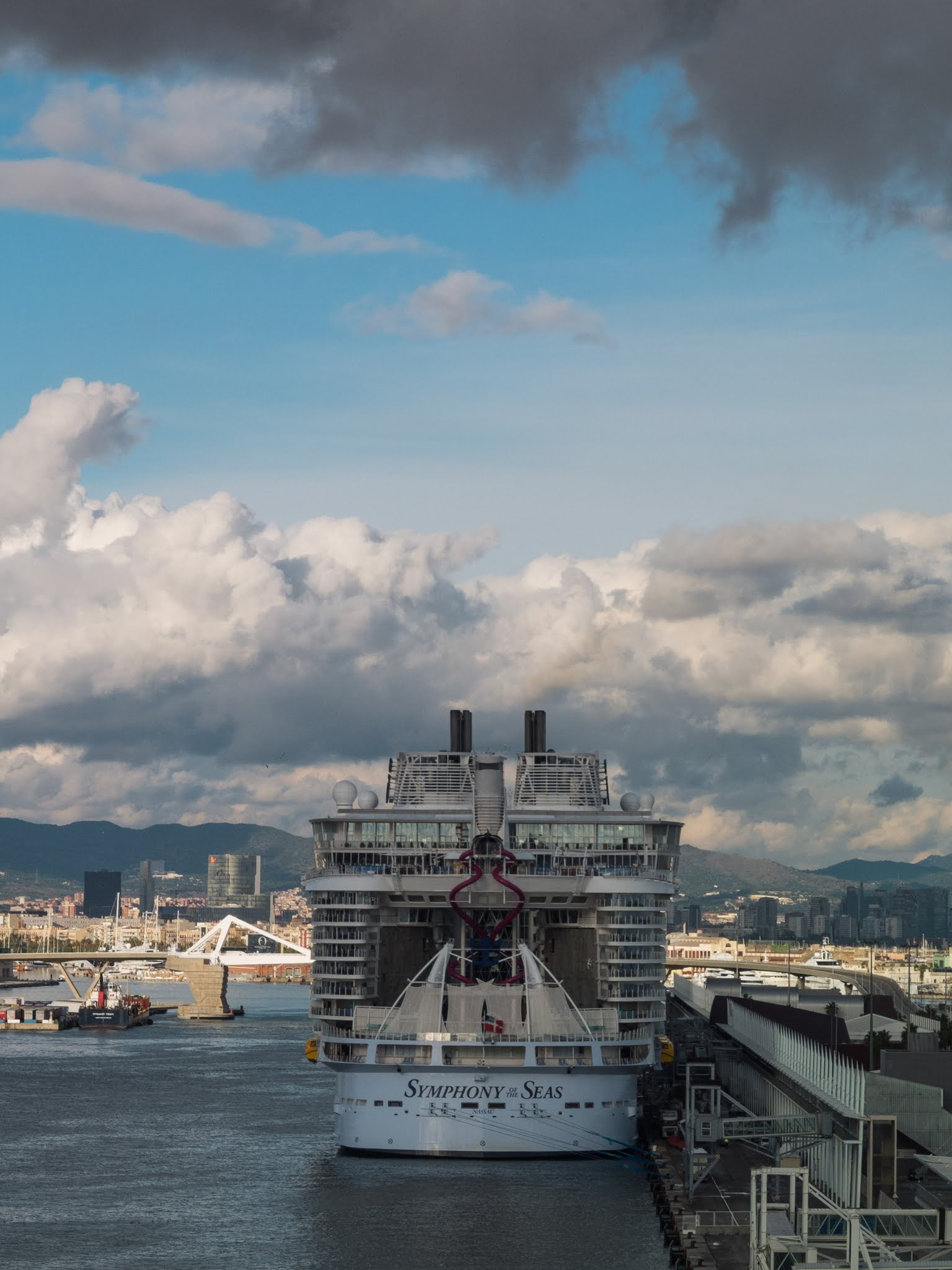 The Symphony of the Seas docked in the port of Barcelona in October 2018.