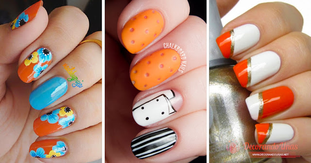 new orange nail designs - all are beautifully decorated!