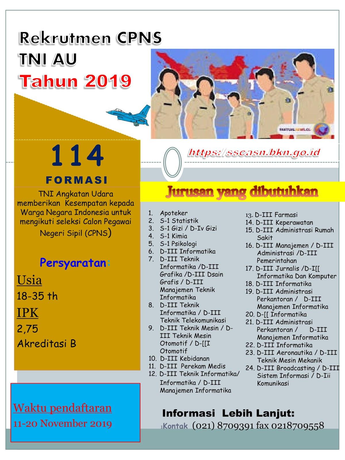 Rekrutmen CPNS TNI Angkatan Udara Tahun 2019 [114 Formasi]