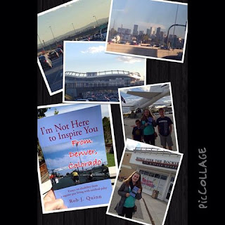 A collage of pictures from Denver with readers holding the book at the airport, a store, and there's a picture of the the football stadium, skyline, and a somewhat hidden picture