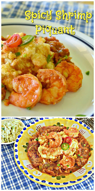 Spicy Shrimp Piquant is made with jalapenos and cayenne. Easily made ahead this is a crowd pleaser for those who like spicy! #shrimp www.thisishowicook.com #entree #shrimprecipe