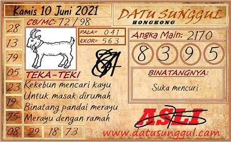 Prediksi Datu Sunggul HK Kamis 10 Juni 2021