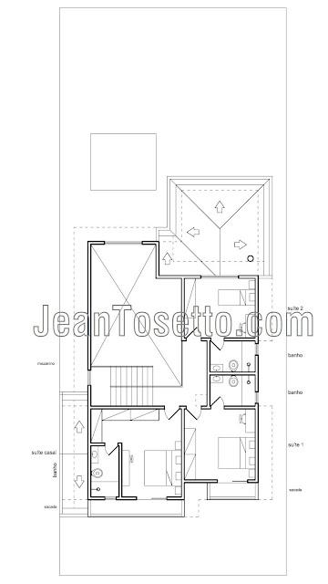 O pavimento superior tem 79,77 m², cuja galeria de circulação abastecida pela escada tem visão sobre as salas do pavimento térreo, formando um mezanino junto a um grande espaço de pé-direito duplo, além de servir duas suítes simples e a suíte do casal. No total, a área projetada da casa é de 227,82 m².