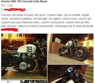 honda cbx750 custom murah