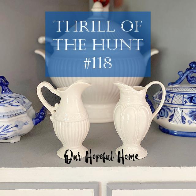 Thrill of the Hunt #118 I. Godinger creamers blue white tureens