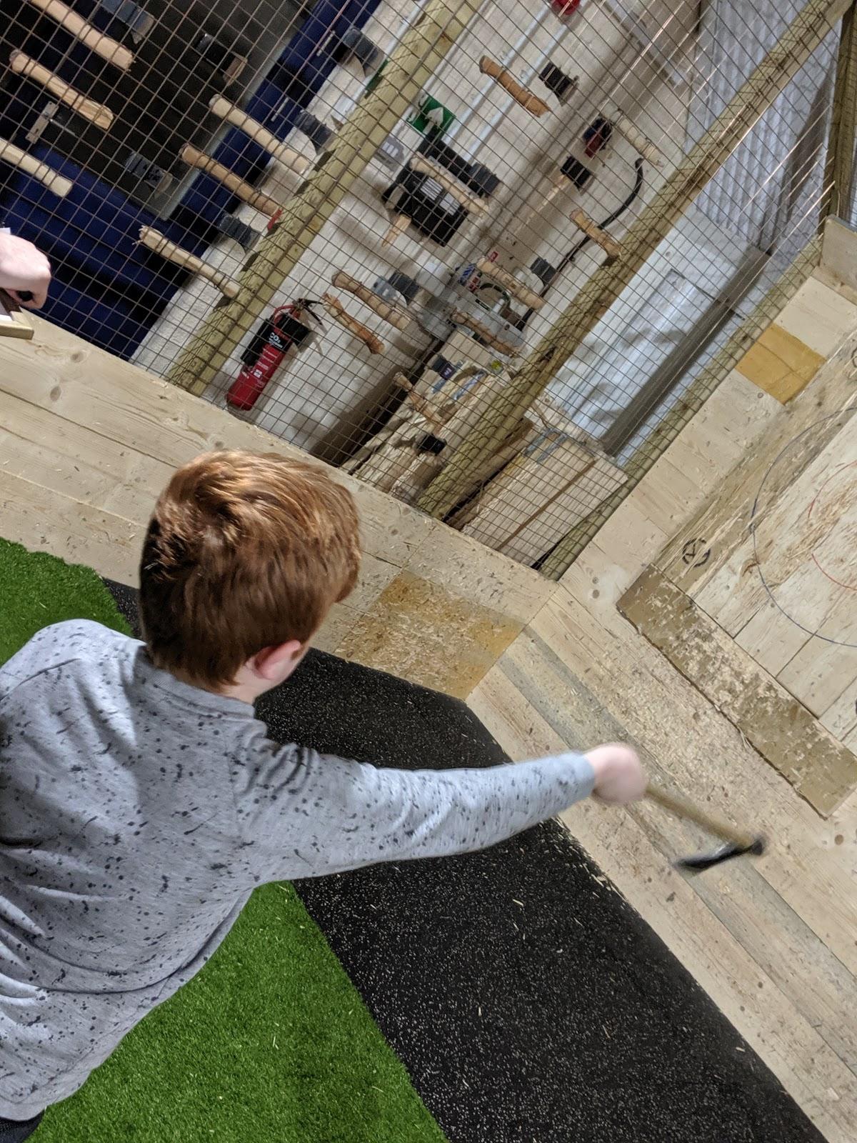 Indoor Axe Throwing in Newcastle at Hatchet Harry's  (Review) - kids throwing
