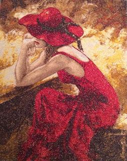 Девушка в красном вышивка