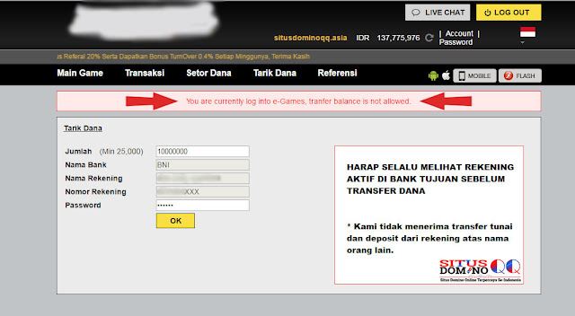 Cara Mengatasi You Are Currently Log Into e-Games Pada Situs Domino Online