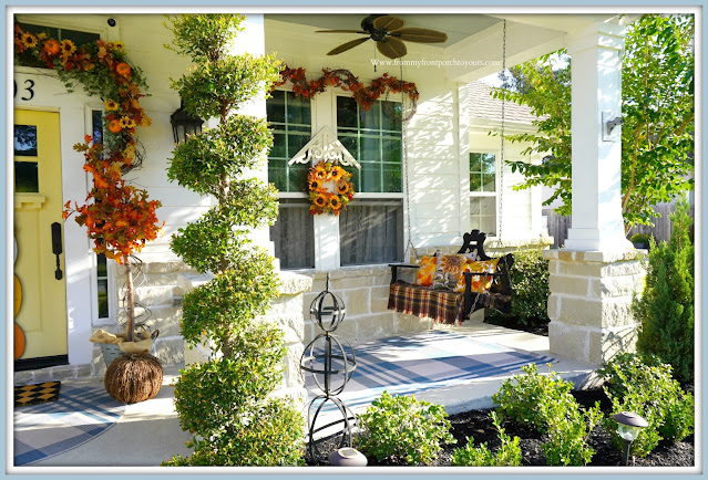 Farmhouse Cottage Style Fall Front Porch-Porch Swing-From My Front Porch To Yours