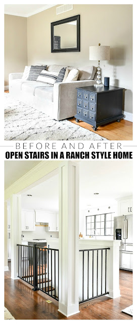 Before and after open stairs in a small ranch style home