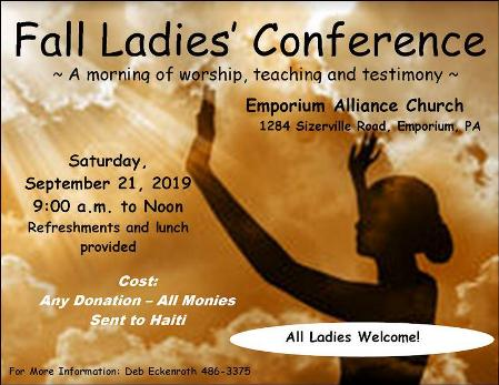 9-21 Fall Ladies Conference, Emporium, PA