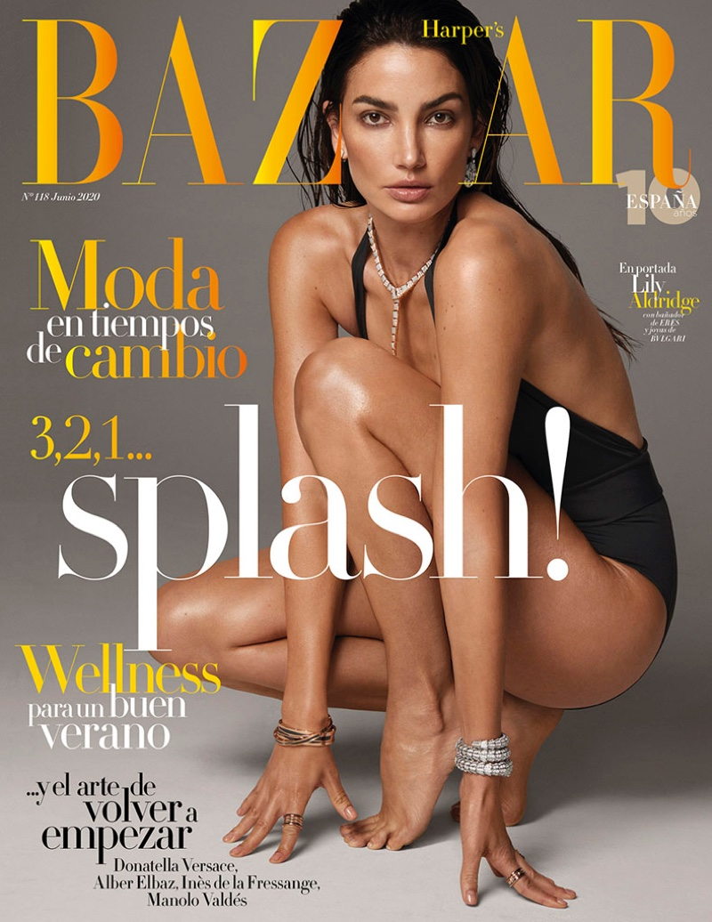 Lily Aldridge Shines in Bulgari Jewelry for Harper's Bazaar Spain