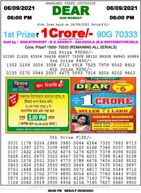 Nagaland State Lottery Result 6.9.2021