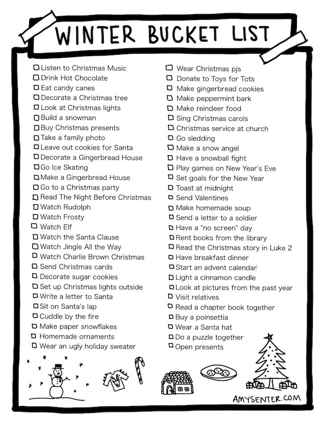 The Ultimate Family Winter Bucket List Printable by Amy Senter featured at Pieced Pastimes
