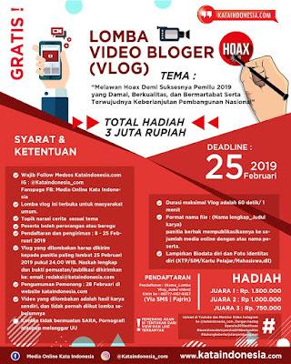 [Gratis] Lomba Video Bloger (Vlog) 2019 Oleh Kataindonesia.com