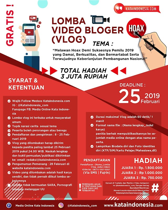 [Gratis] Lomba Video Bloger (Vlog) 2019 Oleh Kataindonesia.com