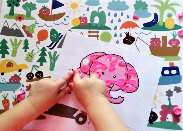 plansze do plasteliny zabawy plasteliną dla dzieci, karty pracy do wyklejania plasteliną, kontury do uzupełnienia plasteliną i patch game