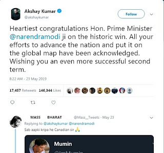 Akshay Kumar has congratulated PM Modi