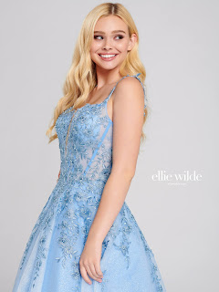 Ellie Wilde A line periwinkle color prom dress design