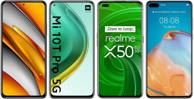 Xiaomi POCO F3 vs Xiaomi Mi 10T Pro vs Realme X50 Pro vs Huawei P40