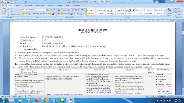 Contoh Format Silabus PJOK K13 Kelas 6 SD Semester 2 Revisi Terbaru