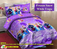 Sprei Custom Katun Lokal Frozen Snow White Ungu Kartun Karakter Anak Ungu Purple