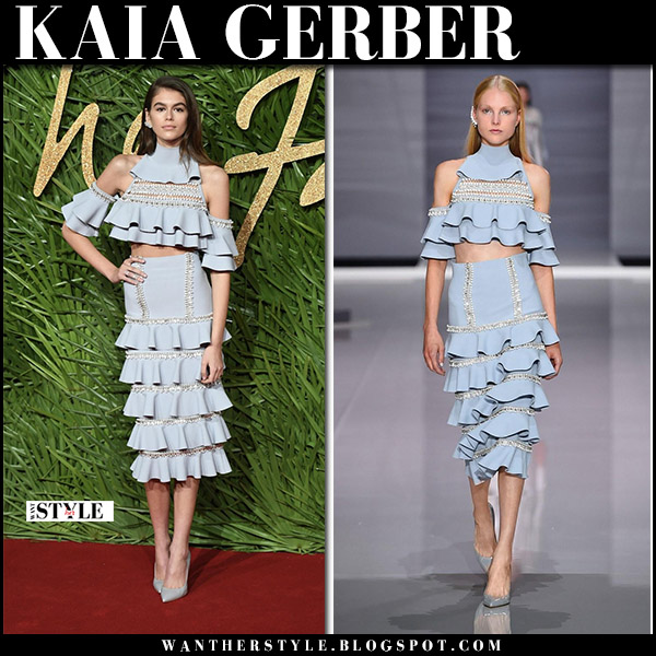 Kaia Gerber in light blue off shoulder ruffled top and ruffled skirt and blue pumps ralph russo eden red carpet style december 4