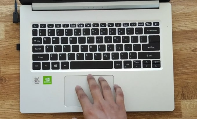 Keyboard of Acer Aspire 5 A514-52G laptop.