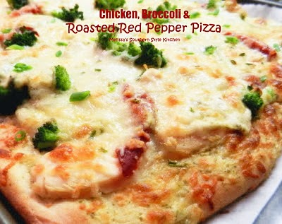 Chicken, Broccoli And Roasted Red Pepper Pizza