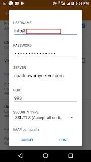 incoming server settings