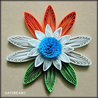 Presenting - 10+ Tricolor Paper Quilling ideas for India's Independence Day - Tricolor cards, flowers , earrings all using paper strips