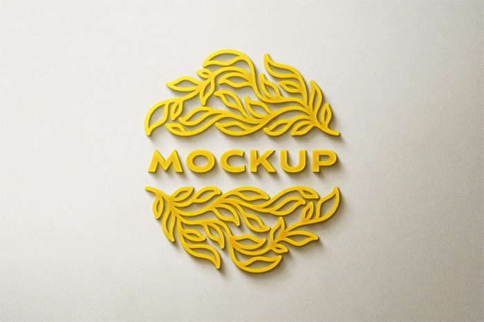 Free Download Yellow Glowing Logo Mockup