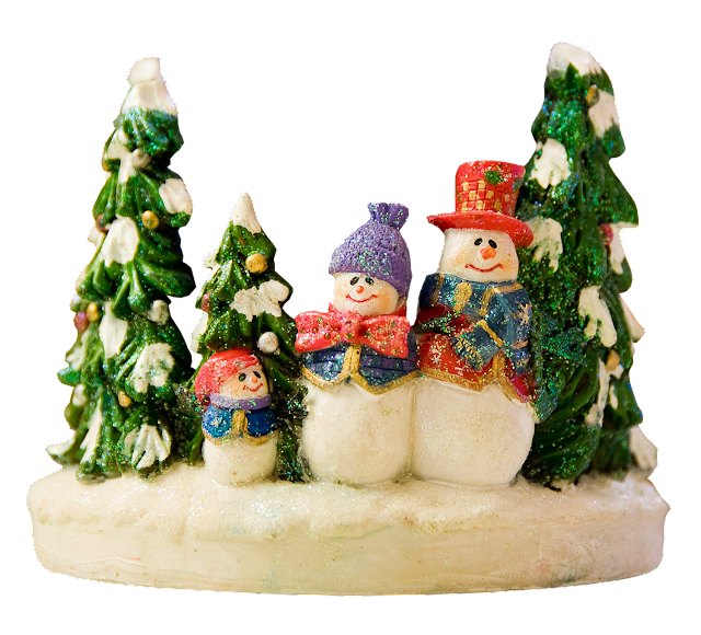 A resin candleholder with sparkly trees and a snowperson family - mom, dad, and child.